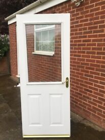 DOUBLE GLAZED COMPOSITE DOOR IN WHITE WITH HINGES AND KEY - can deliver locally