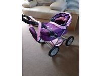 Lovely Kids Pram, new, Folds up and had bag included that fits over handle.