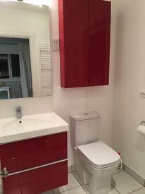 Bathroom sink, draws unit base, cupboard, mirror