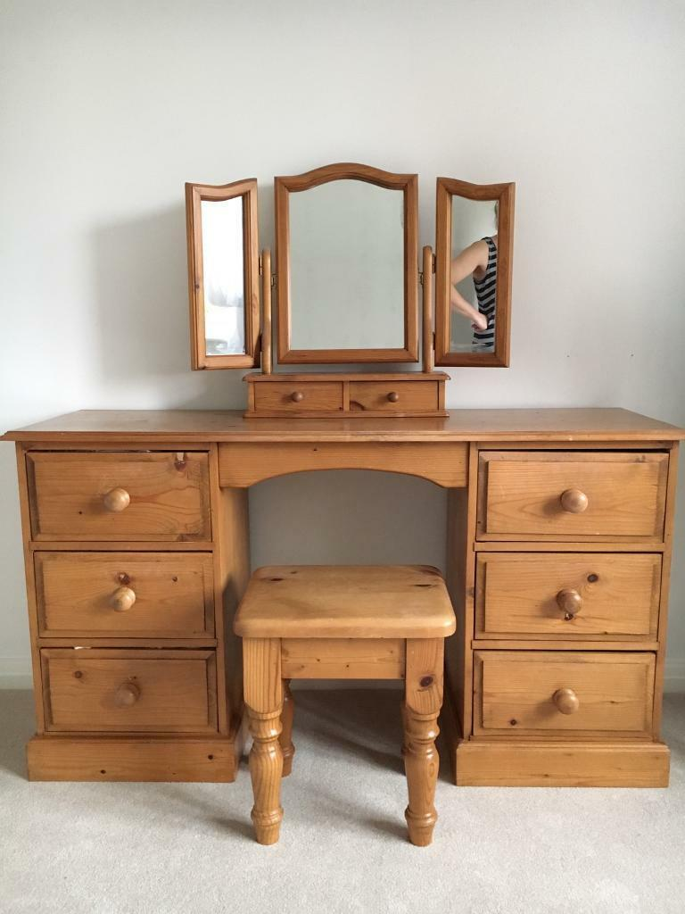 Mirrored Vanity Table And Stool: Pine Dressing Table, Mirror And Stool