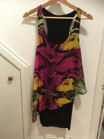 Asda George Black And Multi Coloured Ladies Dress, Size 8