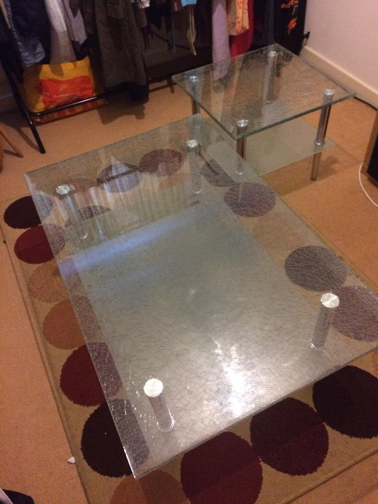 coffee table and side tablein Aylesbury, BuckinghamshireGumtree - Coffee table and side table cracked glass effect,chrome legs.Coffee table 110x70x44Side table square 55x55x45Excellent condition crack effect solid tables,will require two people to collect it as these are heavy.£85Collecting HP20 1AH