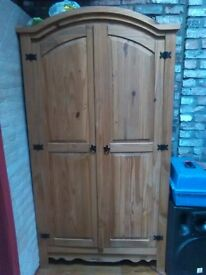 Bedroom furniture. Matching wooden wardrobe, draws, bedside cabinets, mirror.