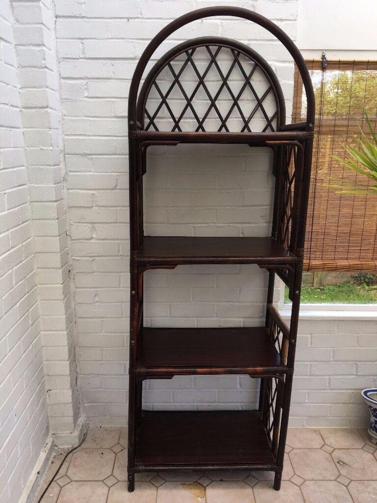 Wicker Shelf Unit with Wooden Shelves