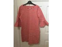 Ladies Next red stripe tunic top / dress with bell frill sleeves size 14 NEW