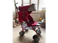 Maclaren XT stroller (red) with SnoozeShade & original travel xover