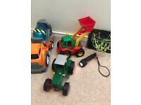 Set of little boys toys - tractors, lorry, torch and base ball hoop