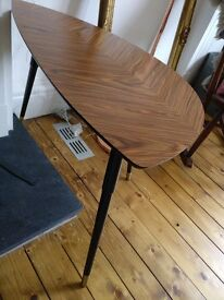 Pair of Retro side table walnut dark legs with brass