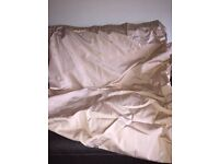 "Tape Top 90"" x 90"" Pale Gold Curtains with tie backs"