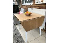 Ikea bamboo and white drop leaf dining table