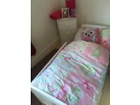Lovely white toddler bed with mattress