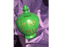 """Terramundi moneypot """"Green fees"""", gift for a golfer"""