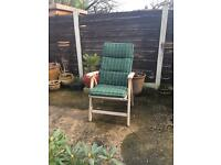 4 solid grade a Teak fully reclining chairs & full cushion