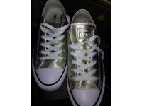 Allstar Low Leather Gold Exclusive Womens Converse UK size 6 Eur 39