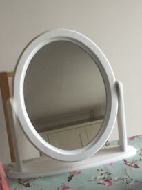 White wooden oval mirror
