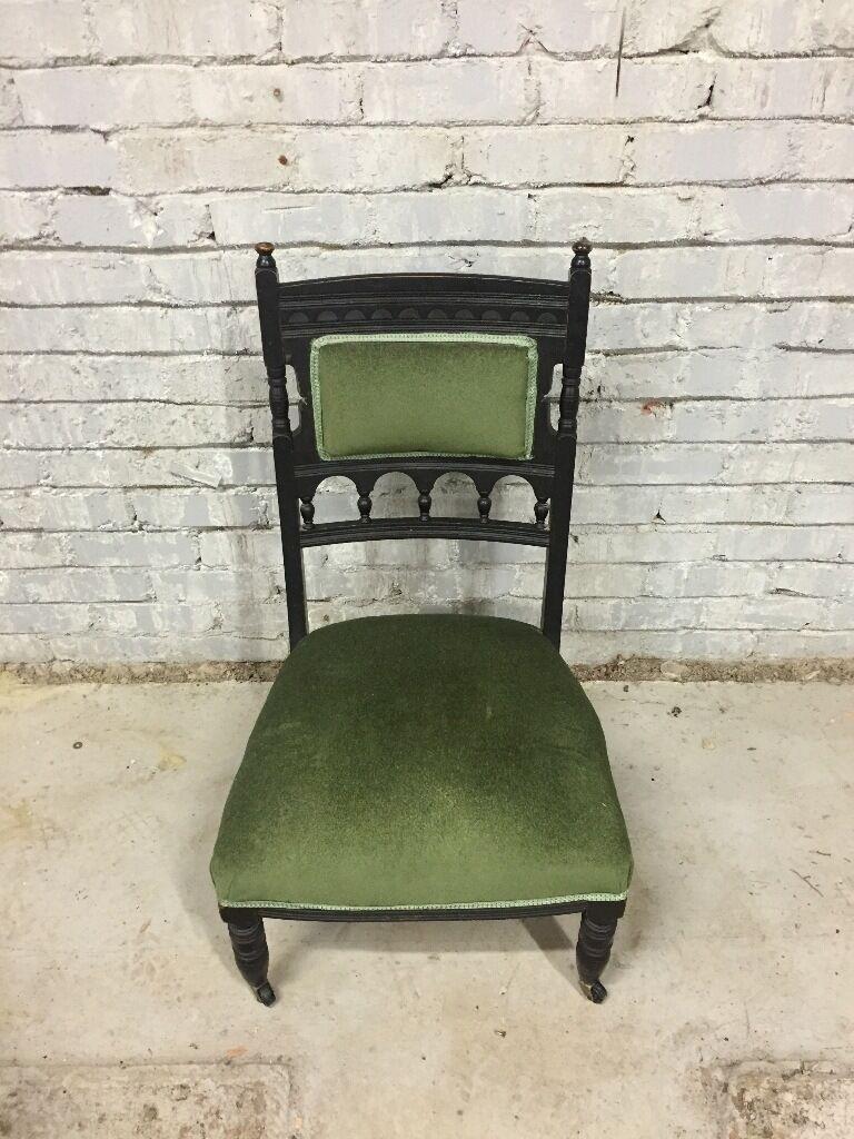 Antique nursing chair - Ebonised Victorian Low Green Black Nursing Chair Stunning Antique