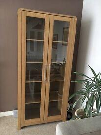 Oak veneer 6ft tall display cabinet