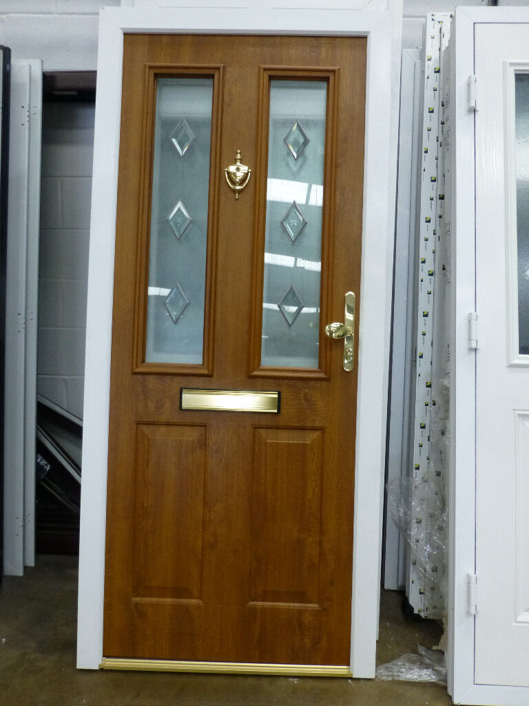 New composite light oak outside white inside upvc front for Exterior doors fitted