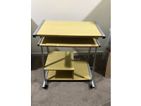 Beech Computer Desk Table On Castors With Additional Storage - RRP £70