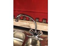 Kitchen sink, taps & worktop