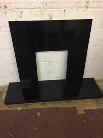 Granite fireplace back and hearth