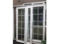 French doors. Metal double glazed. Seriously strong. Comes with fixtures and fittings.