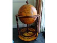 World globe, drinks cabinet