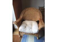 Nice cane armchair, with cushion
