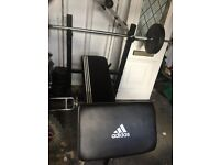Weights bench & bars, sit up bench, weights & dumbells