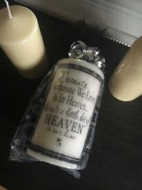 Large white sympathy remembrance candle