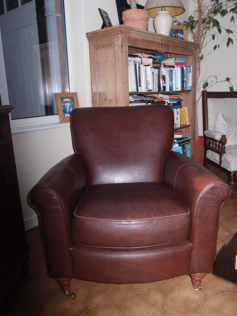 BROWN REAL LEATHER CHAIR FROM MARKS & SPENCERS