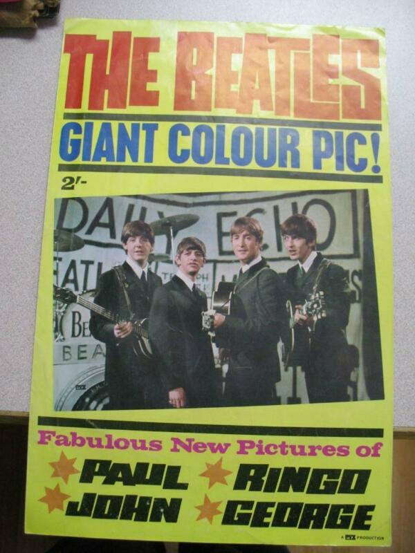 "THE BEATLES GIANT COLOR PIC! FOLDS OPEN TO A GIANT (ABOUT)  24"" BY 36"" POSTER"