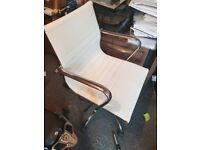 White leather look office chair