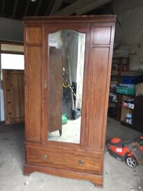 EDWARDIAN INLAID WARDROBE WITH CENTRAL HANGING RAIL, SOME BEADING NEEDS REPLACING, DELIVERY AVAILABL