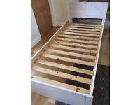 Pine single bed with 3 drawers and unused matress