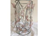 Lampshade glass leaves pink and white
