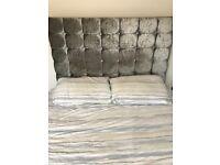 Silver crushed velvet king size bed