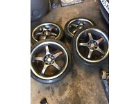 Genuine Kei Racing RSS Shadow Chrome set of alloy wheels and tyres 4x100 4x108