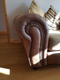 Fabric and leather 3 seater sofa