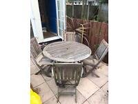Teak garden table & chair set