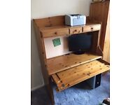 Solid Pine Computer Desk and Drawers