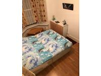 Double bed, mini table,