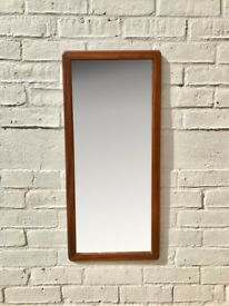 Vintage Teak Wall Mirror Rectangular #748