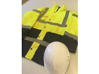 HI-Vis Padded Coat Waterproof + helmet