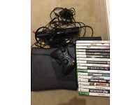 Xbox 360, kinect, 1 controller and 18 games.