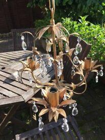 Laura Ashley Lavenham Chandelier / ceiling Light. Dark Gold / Bronze colour. Crystal droplets.
