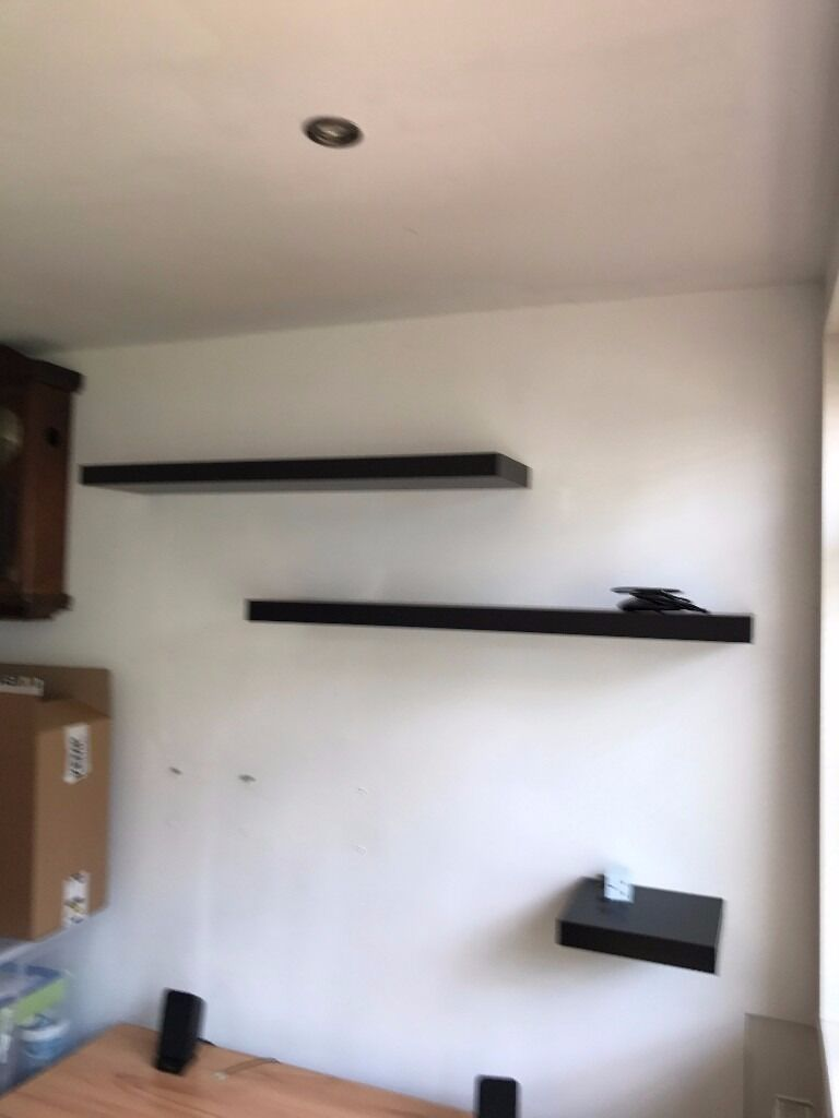 Black IKEA floating shelves x3 - REDUCED - Bring tools to remove ...