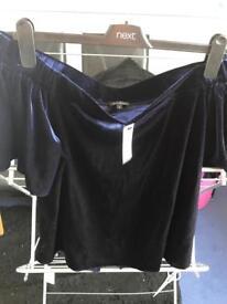 Navy Bardot short sleeved velvet top size 16