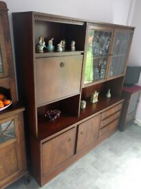 1960s mahogany display cabinet comes apart for transport
