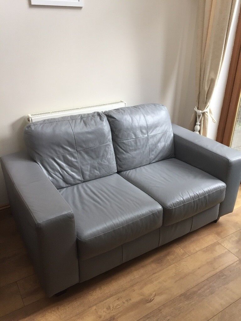 Ikea Skogaby 2 Seater Leather Sofa Grey In Street